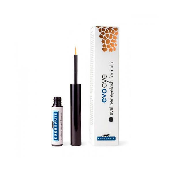 Evoeye Eyeliner con Eyelash formula, delianeador ojos con serum de pestañas crecimiento. Color negro