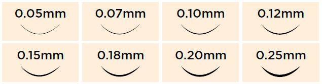 Diámetro - Grosos extensiones de pestañas Elleebana Lash Extensions